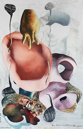 die kuh, von ihrem hirten gemolken, dereinst | egg-tempera on canvas, inserted | triptych: 78,74 x 152,54 in | 200 x 390 cm 2018, painting, fine art, contemporary art, international art exhibition, artist