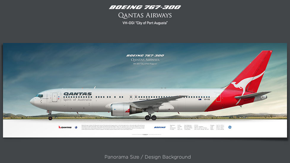 Boeing 767-300 Qantas Airways, plane prints, retired pilot gift, aviation posters, airliners prints, passenger jets