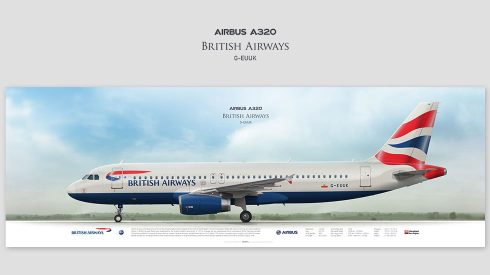 Airbus A320 British Airways, posterjetavia, airliners profile prints, gift for pilots