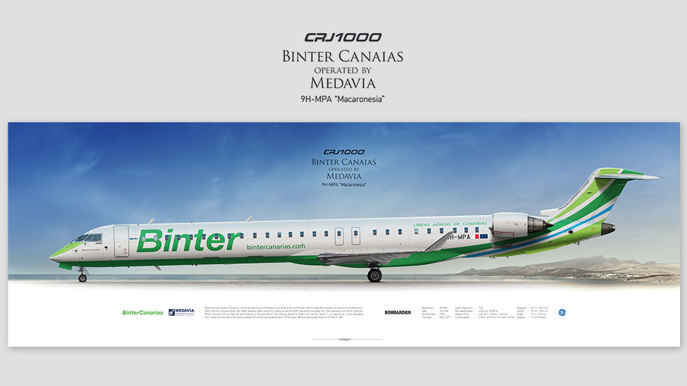 CRJ 1000 Binter Canarias, gift for pilots, aviation art prints, aircraft print, custom posters, plane picture