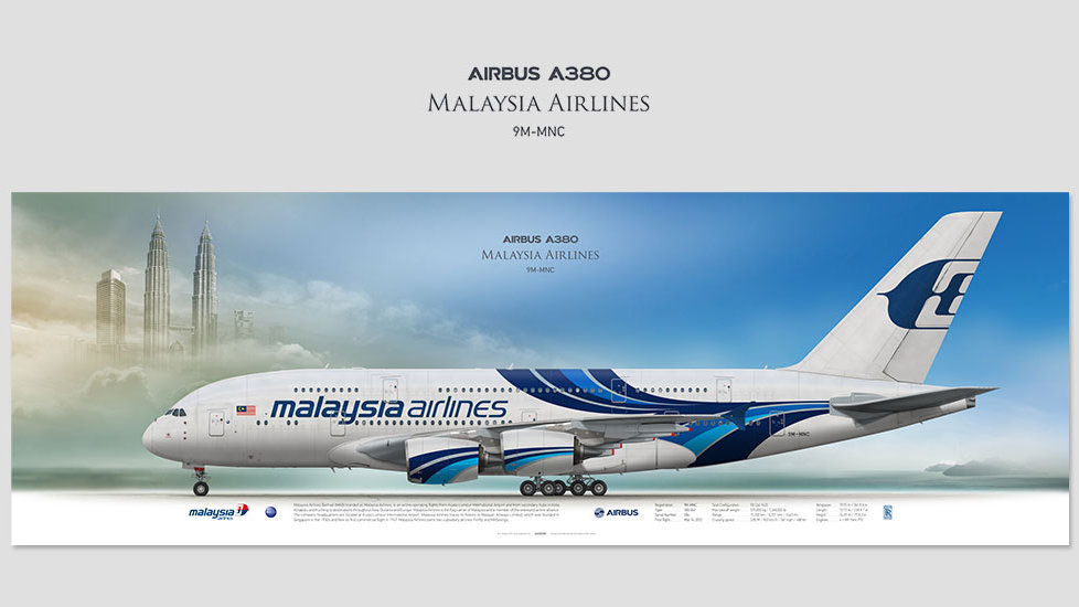 Airbus A380 Malaysia Airlines, posterjetavia, airliners profile prints, aviation collectibles prints