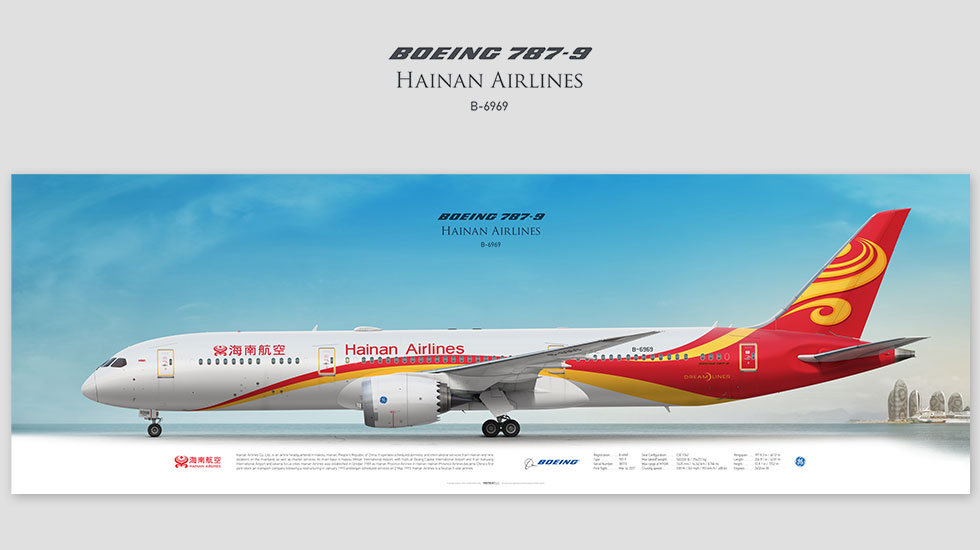 Boeing 787-9 Hainan Airlines, posterjetavia, profile prints, gift for pilots, aviation, airplane picture, airline