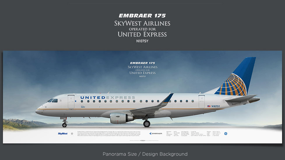 Embraer 175 SkyWest Airlines, United Express, plane prints, retired pilot gift, aviation posters, regional jet, SKW