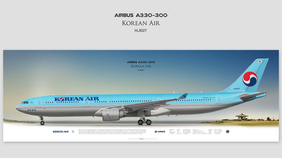 Airbus A330-300 Korean Air, gift for pilots, aviation art prints, aircraft print, custom posters, plane picture