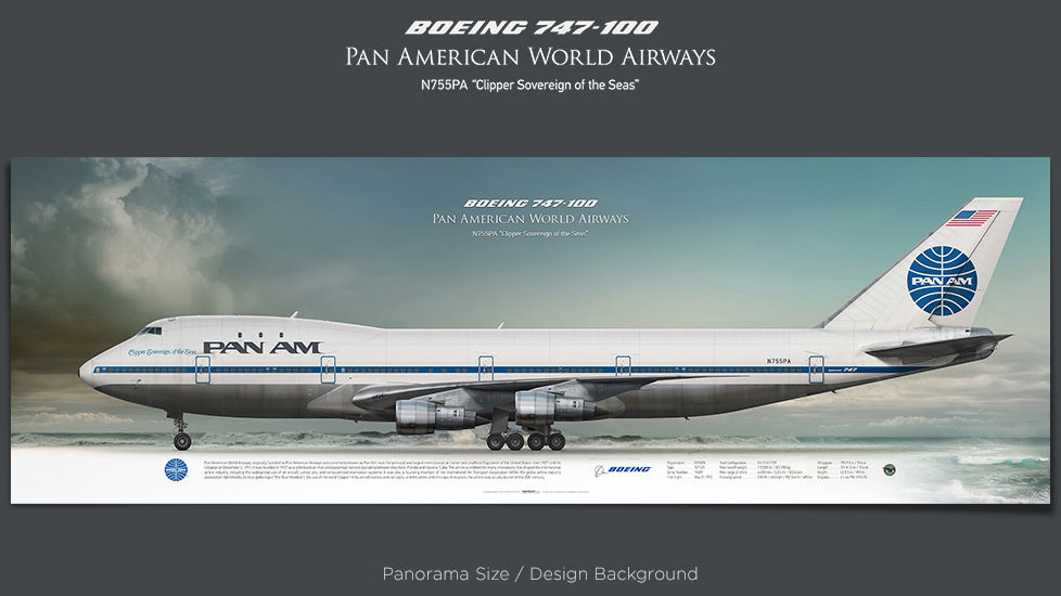 Boeing 747-100 Pan American World Airways, PanAm, plane prints, retired pilot gift, aviation posters, airliners prints, jumbo