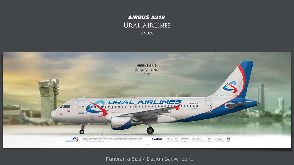 Airbus A319 Ural Airlines, plane prints, retired pilot gift, aviation posters, airliners prints, civil aircraft, SVR