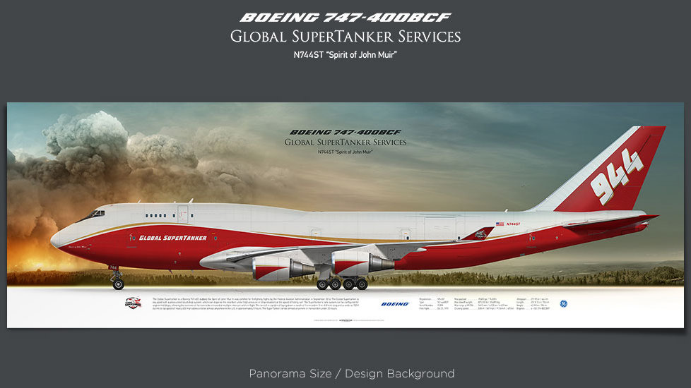 Boeing 747-400BCF Global SuperTanker Services, plane prints, retired pilot gift, aviation posters, airliners prints