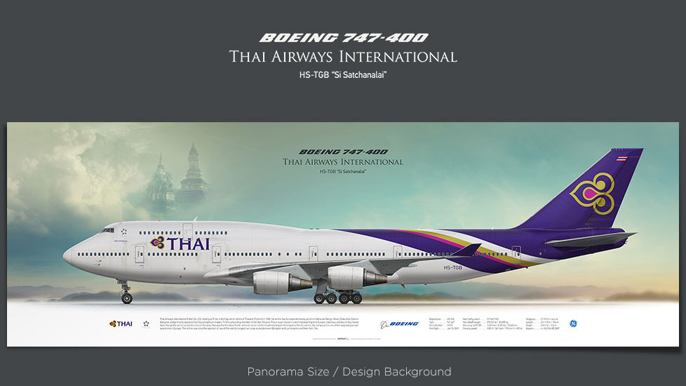 Boeing 747-400 Thai Airways, plane prints, retired pilot gift, aviation posters, airliners prints, jumbo jet, queen sky, THA
