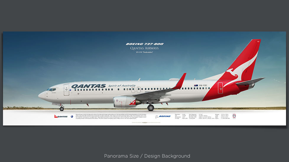 Boeing 737-800 Qantas Airways, plane prints, retired pilot gift, aviation posters, airliners prints, airliner profiles