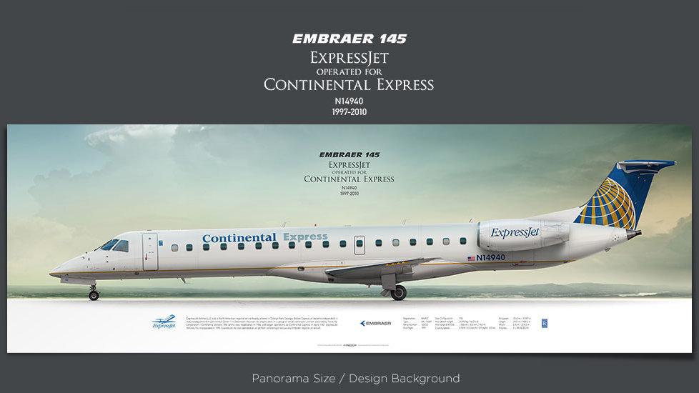 Embraer 145 ExpressJet, Continental Express, plane prints, retired pilot gift, aviation posters, regional jet, ttail, ASQ