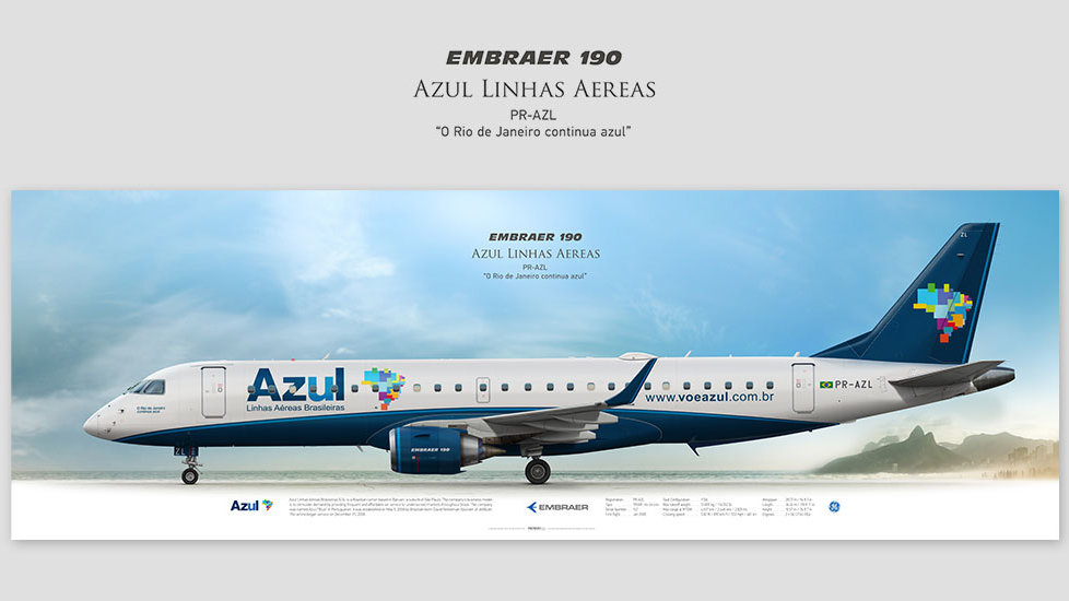 Embraer 190 Azul Linhas Aéreas, posterjetavia, profile prints, gift for pilots, aviation, airplane picture, airline, ejets