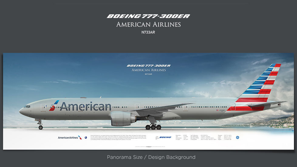 Boeing 777-300ER American Airlines, gifts for pilots, aviation art prints, aircraft print, custom posters, retired pilot
