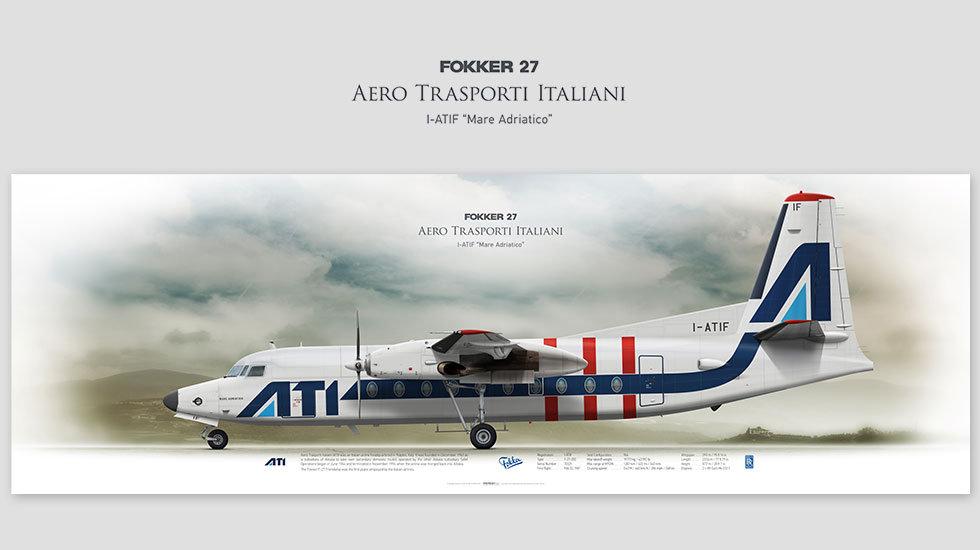 Fokker 27 Aero Trasporti Italiani, posterjetavia, airliners profile prints, aviation collectibles prints