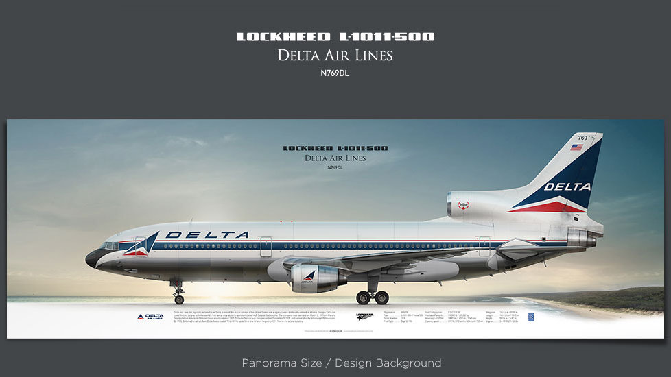 Lockheed L-1011-500 Delta Air Lines, plane prints, retired pilot gift, aviation posters, vintage aircraft, trijet, DAL