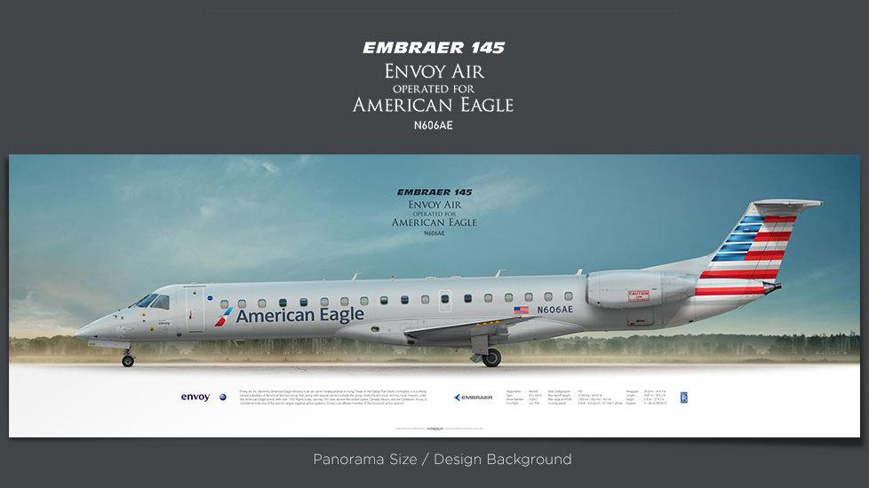Embraer 145 Envoy Air, plane prints, retired pilot gift, aviation posters for sale, american eagle, regional jet prints
