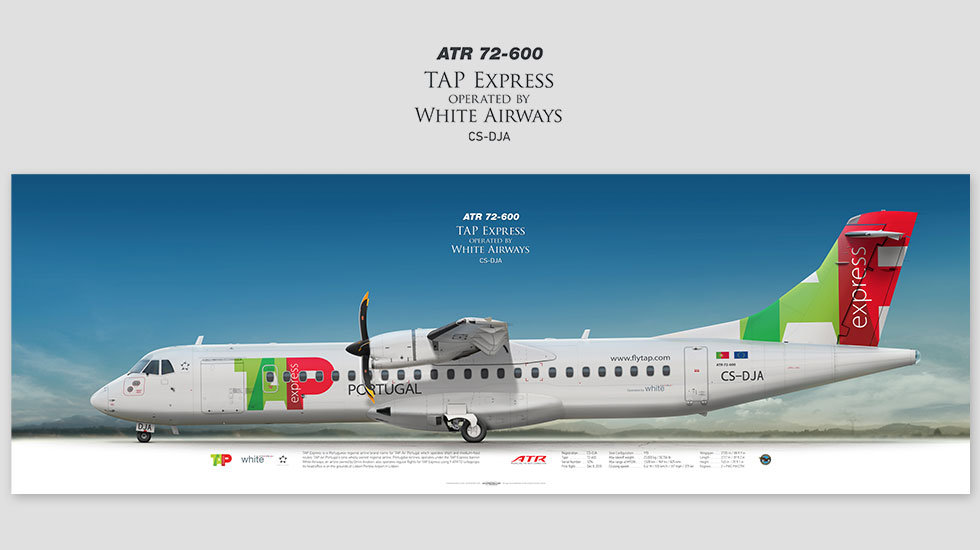 ATR 72-600 TAP Express, posterjetavia, profile prints, gift for pilots, aviation, airplane picture, airline, CS-DJA