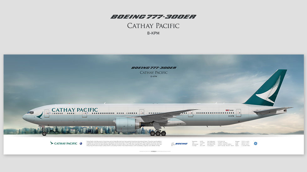 Boeing 777-300ER Cathay Pacific, gift for pilots, aviation art prints, aircraft poster, custom posters, plane picture