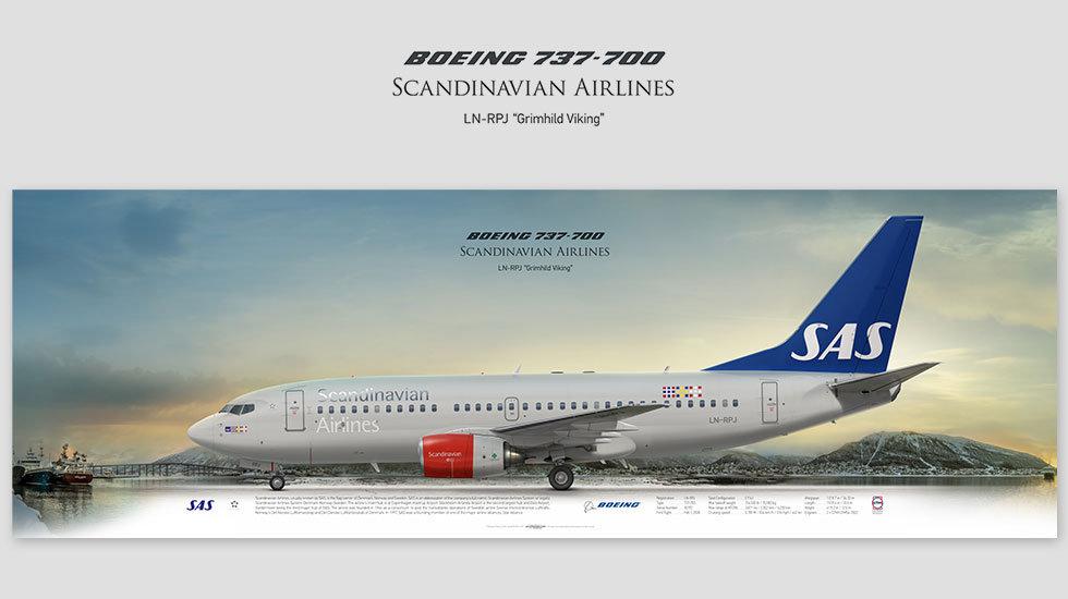 Boeing 737-700 Scandinavian, gift for pilots, aviation art prints, aircraft print, custom posters, plane picture, SAS
