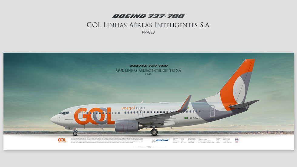 Boeing 737-700 GOL, gift for pilots, aviation art prints, aircraft poster, custom posters, plane picture