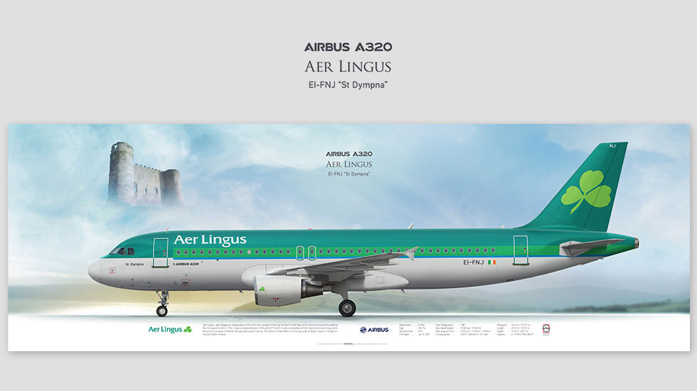 Airbus A320 Aer Lingus, posterjetavia, airliners profile prints, aviation collectibles prints