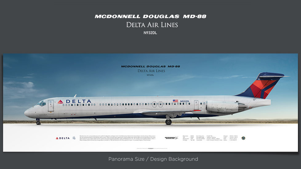 McDonnell Douglas MD-88 Delta Air Lines, gifts for pilots, aviation prints, aircraft posters, custom posters, retired pilot
