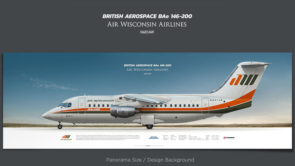 British Aerospace BAe 146-200 Air Wisconsin Airlines, plane prints, retired pilot gift, aviation posters, vintage airplane