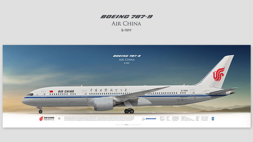 Boeing 787-9 Air China, posterjetavia, profile prints, gift for pilots, aviation, airplane picture, airline, dreamliner