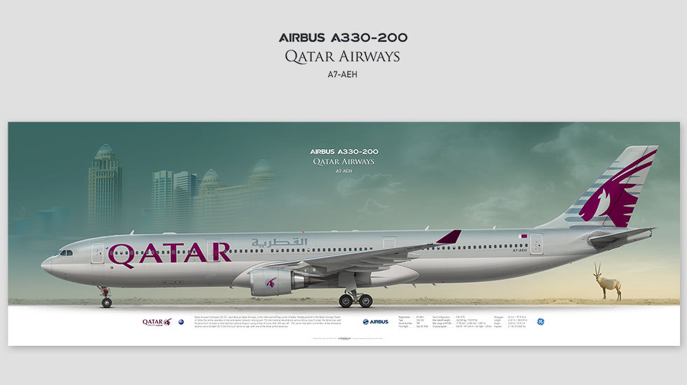 Airbus A330-300 Qatar Airways, gift for pilots, aviation art prints, aircraft poster, custom posters, plane picture, QTR