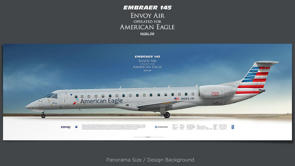 Embraer 145 Envoy Air, American Eagle, plane prints, retired pilot gift, aviation poster, airliners prints, regional aircraft