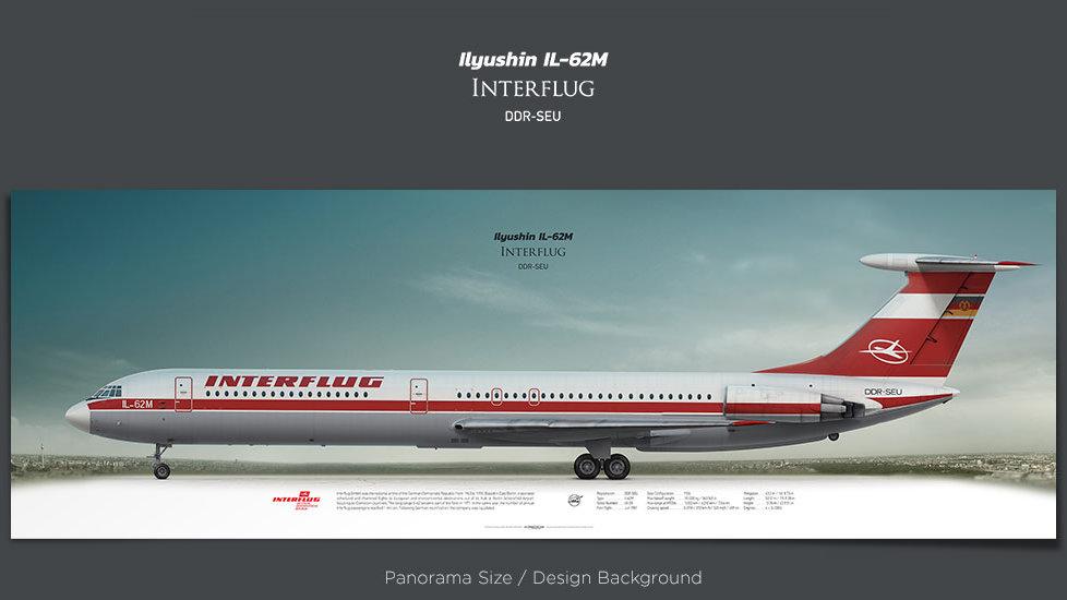Ilyushin Il-62M Interflug, plane prints, retired pilot gift, aviation posters for sale, ttail, vintage aircraft prints IFL