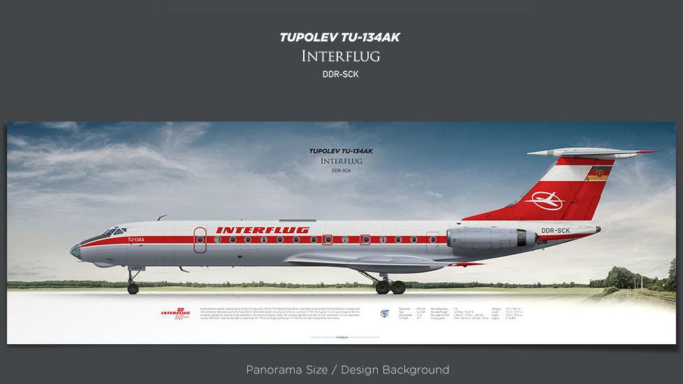 Tupolev Tu-134 Interflug, plane prints, retired pilot gift, aviation posters, ttail, vintage aircraft, vintage airliner, IFL