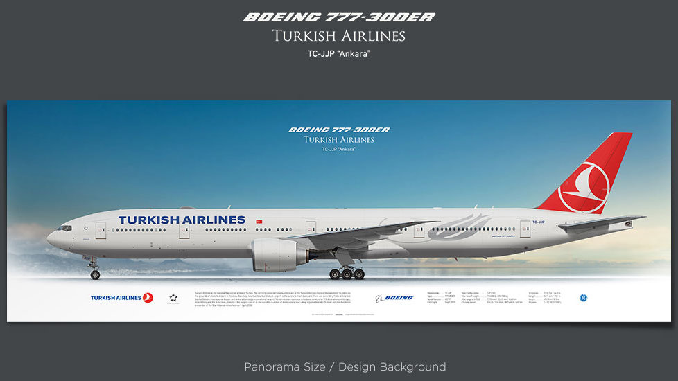 Boeing 777-300ER Turkish Airlines, plane prints, retired pilot gift, aviation posters, airliners prints, civil aircraft, THY