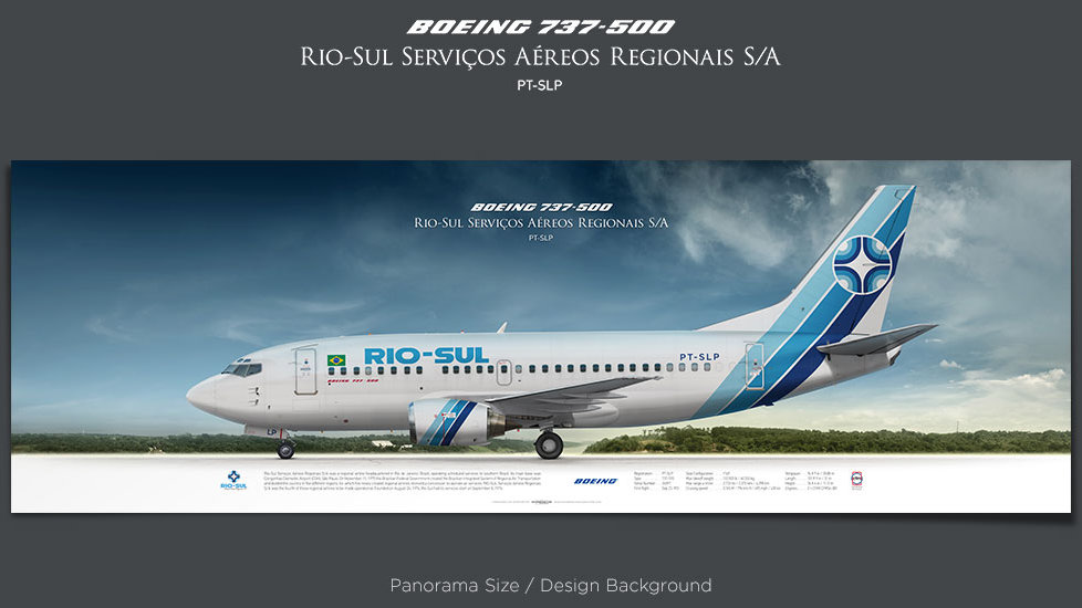 Boeing 737-500 Rio-Sul, plane prints, retired pilot gift, aviation posters, airliners prints, vintage airline, jetliner