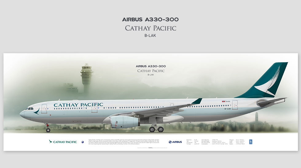 Airbus A330-300 Cathay Pacific, posterjetavia, airliners profile prints, aviation collectibles prints