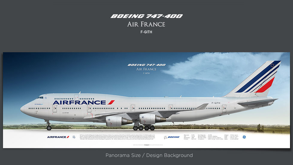 Boeing 747-400 Air France, gifts for pilots, aviation prints, aircraft posters, custom posters, retired pilot, jumbojet