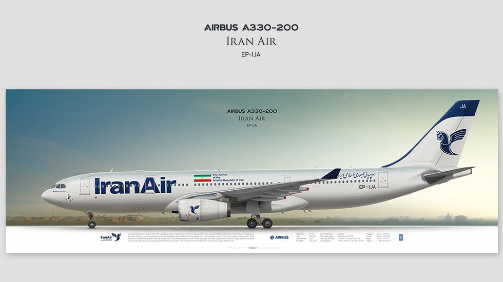 Airbus A330-200 Iran Air, gift for pilots, aviation art prints, aircraft print, custom posters, plane picture, IranAir