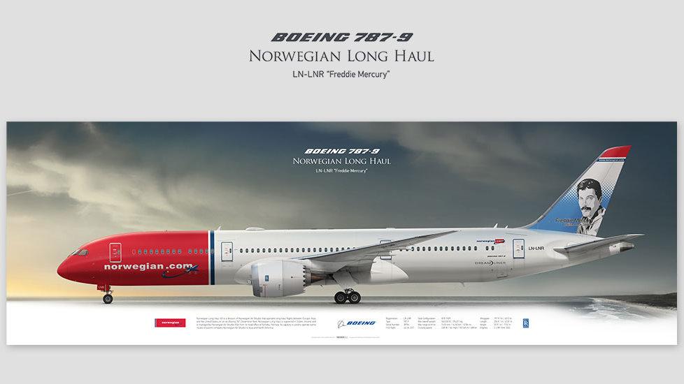 Boeing 787-9 Norwegian, gift for pilots, aviation prints, pilot wall decor, avia poster, aircraft profile prints, dreamliner