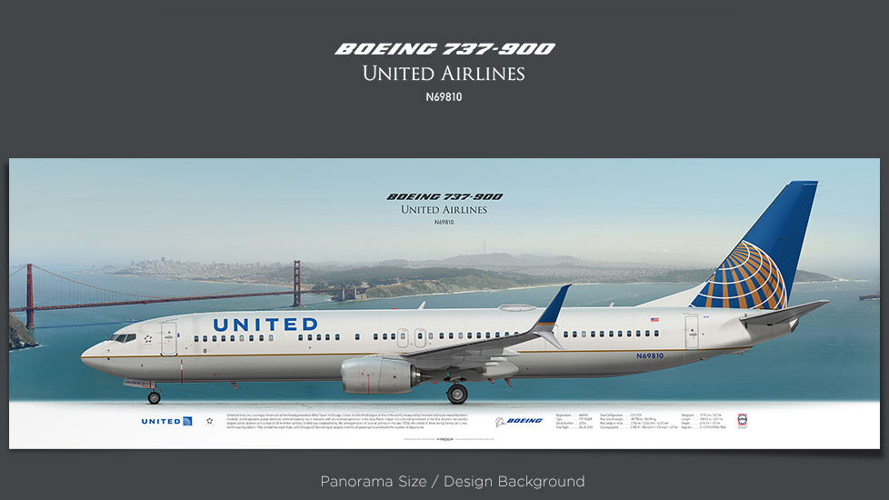 Boeing 737-900 United Airlines, plane prints, retired pilot gift, aviation posters, airliners prints, UAL