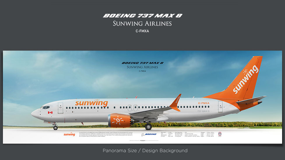 Boeing 737MAX 8 Sunwing Airlines, plane prints, retired pilot gift, aviation posters for sale, boeing poster, jetliner prints