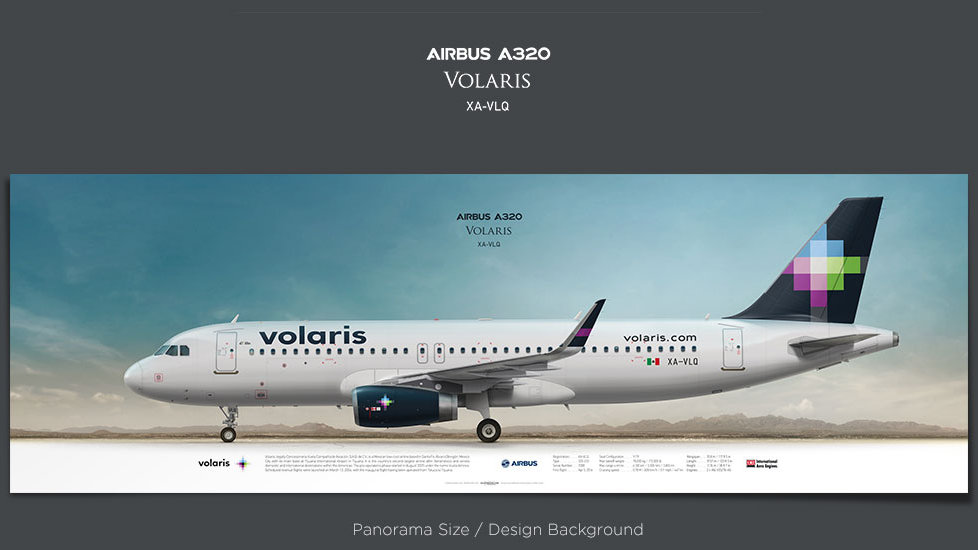 Airbus A320 Volaris, plane prints, retired pilot gift, aviation posters, airliners prints, plane image, civil aircraft, VOI