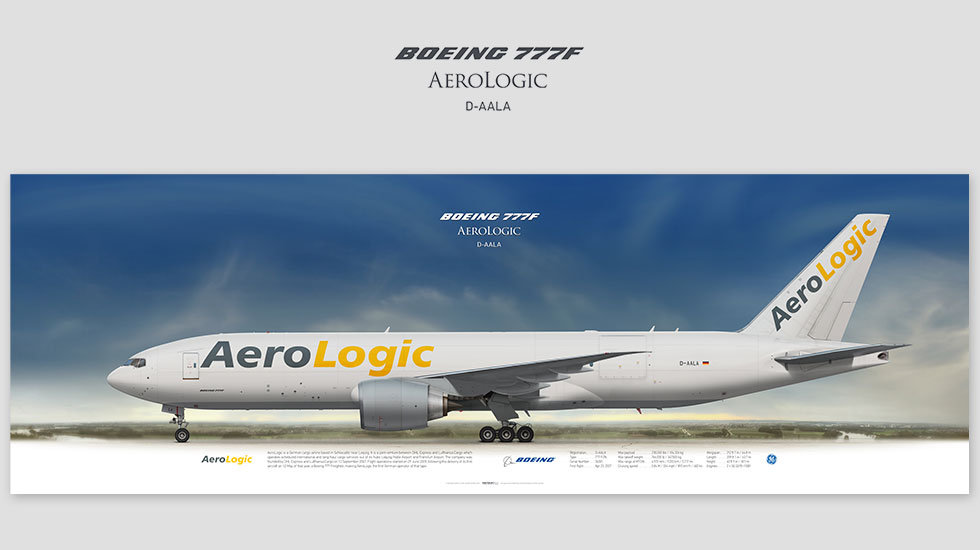 Boeing 777F AeroLogic, posterjetavia, gifts for pilots, aviation, aviation art, avgeek, airplane pictures