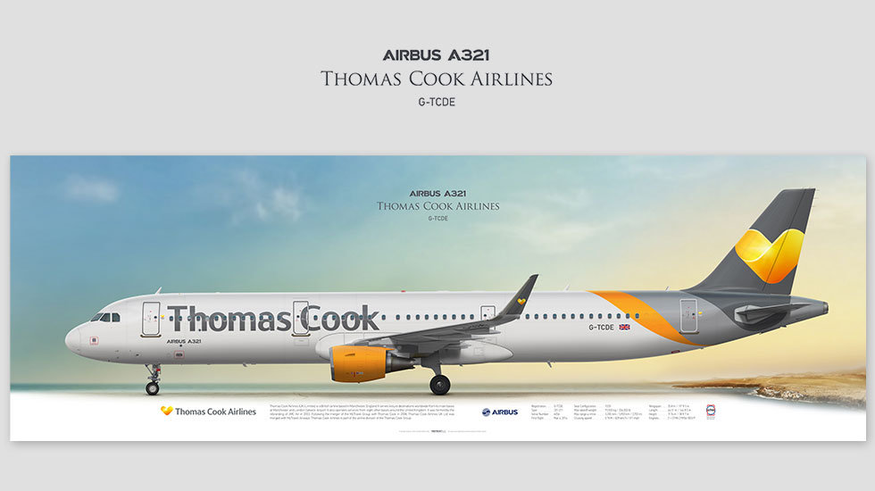 Airbus A321 Thomas Cook Airlines, posterjetavia, profile prints, gift for pilots, aviation, airplane picture, airline