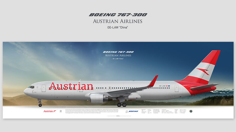 Boeing 767-300 Austrian Airlines, posterjetavia, gifts for pilots, aviation, airplane picture, avgeek, profile prints