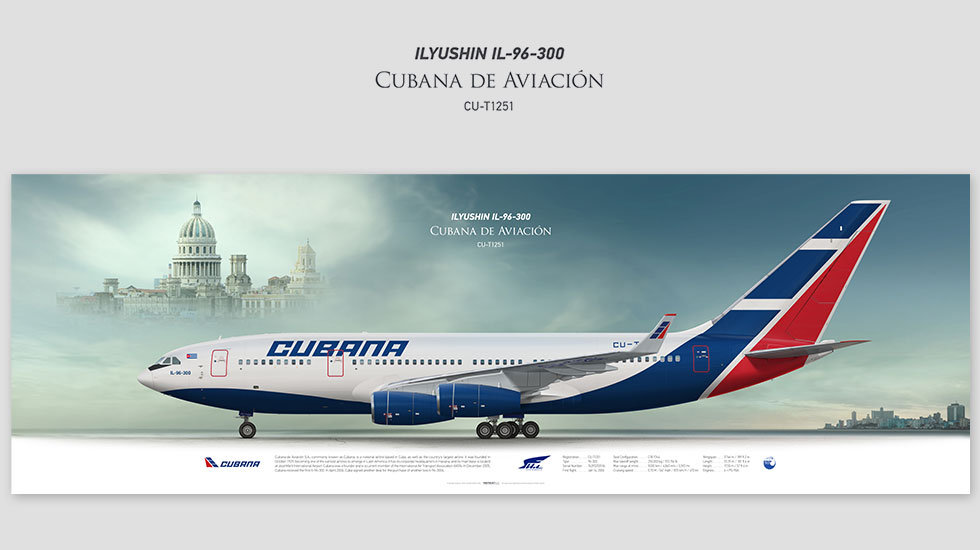 Ilyushin Il-96-300 Cubana de Aviacion, posterjetavia, profile prints, gift for pilots, aviation, airplane picture, airline