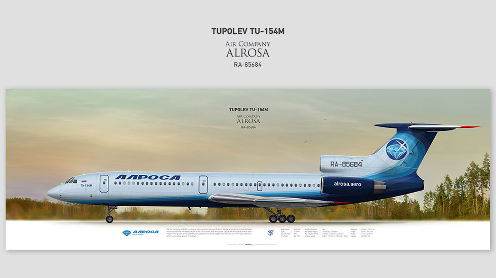 Tupolev Tu-154M Alrosa, posterjetavia, gifts for pilots, aviation, aviation art , avgeek, airplane pictures