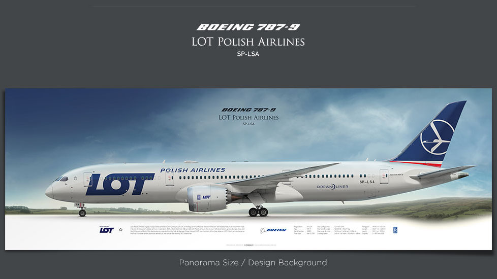 Boeing 787-9 LOT Polish Airlines, gifts for pilots, plane prints, airplane poster, retired pilot gift, civil aviation poster