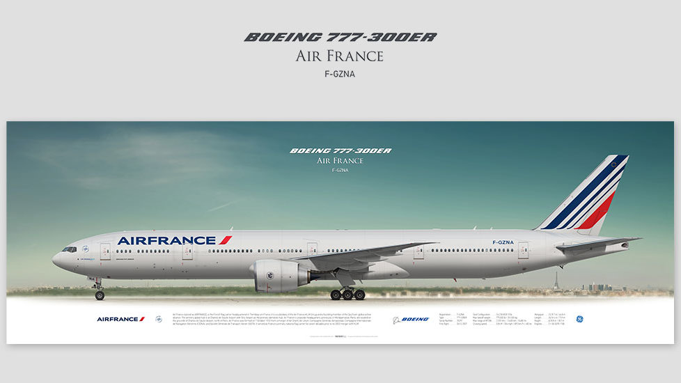 Boeing 777-300ER Air France, posterjetavia, gifts for pilots, aviation art, avgeek, airplane pictures, profile prints, afr
