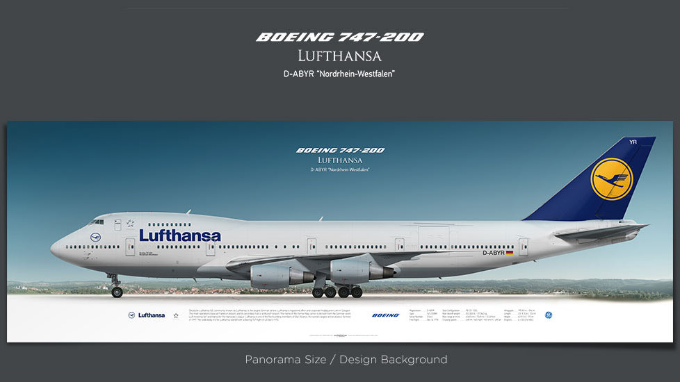 Boeing 747-200 Lufthansa, gifts for pilots, aviation poster, airplane prints, custom posters, retired pilot, jumbojet, DLH