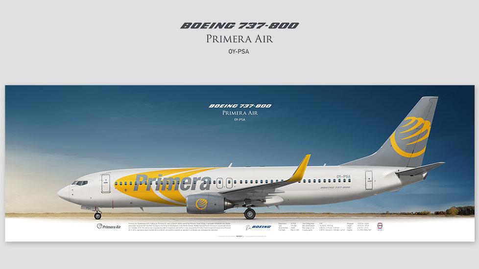 Boeing 737-800 Primera Air, posterjetavia, gifts for pilots, aviation, aviation art , avgeek, plane pictures