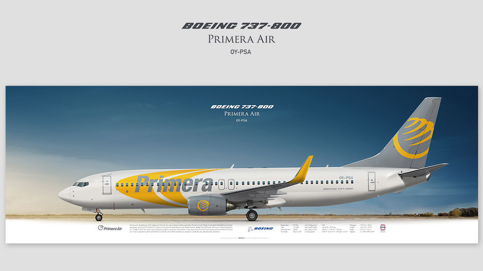 Boeing 737-800 Primera Air, posterjetavia, gifts for pilots, aviation, aviation art , avgeek, plane pictures